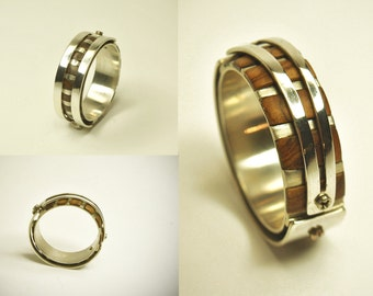 Silver double band ring with special olive and Walnut microscrews