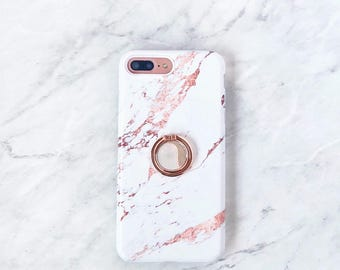 Rose Gold Ring Phone Holder - Rose Marble Case iPhone and Samsung Galaxy Phone Stand Grip