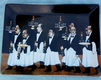 Guy Buffet 7 waiter Perrier Jouet wine bottles ceramic tray