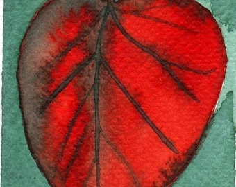 Autumn Leaf -- Watercolor Painting: Watercolor Illustration Leaf -- Mini Art Print -- ACEO Print