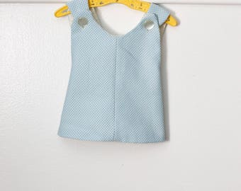 6-12 months: Blue and White Crossback Pinafore Top, Button Shoulders, Vintage Handmade Baby Shirt
