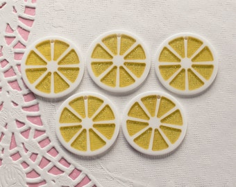 5 Pcs Big Glittery Lemon Citrus Slice Cabochon - 30mm Pre-Drilled