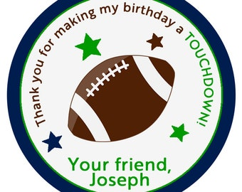 Football Birthday Sticker -- football party  --  favor tag, address label, personalized sticker