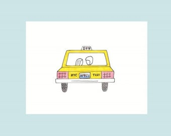 Love in NYC, taxi - print card