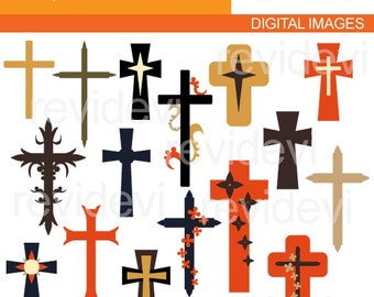 Christian cross clipart sale  - Retro Classic Crosses Clipart, instant download - commercial use digital images