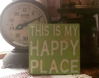 This is my Happy Place, Rustic, Gallery Wall, Wood Sign, Painted, Rustic Sign, Porch Decor, Patio Decor, Gift Idea, Housewarming,Sign,Decor