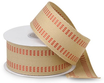 """5YDS Tan & Red 1-1/2"""" Woven Twill Stitch Polyester Ribbon (FREE SHIPPING!)"""