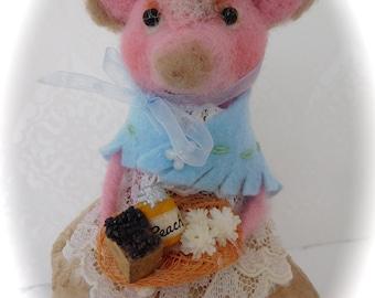 Needle felted pig -  Needle felted animal- Needle felted pig- Handmade pig