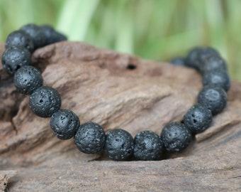 Bracelet natural pearls - mens Bracelet - black lava stone
