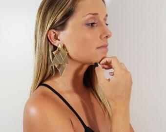 Geometric Stud Earrings, Retro earrings,geometric jewelry, perspex earrings