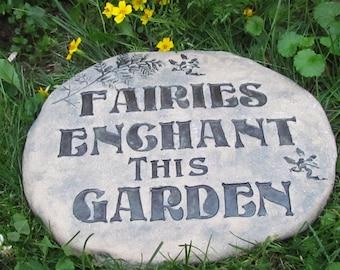 "Fairy Garden plaque ""FAIRIES ENCHANT this GARDEN"" sign. Large Handmade tile, or rock. Victorian style font. Outdoor Fairy art for pathway"