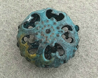 Blue Gold Colored Enameled Bead