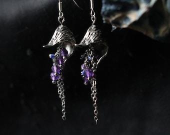 Monks hood Earrings (Pair),Wolfsbane,Venus Chariot,poison jewelry,botanical jewelry,witchcraft,dark,occult,pagan,macabre,strega,sabbat