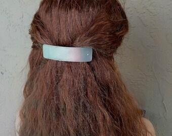Large Brushed Silver Hair Barrette. Artisan metal hair barrette with brushed silver texture.