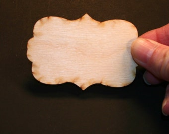 Unfinished Wood Rectangle Scroll - 3 inches wide by 2 inches tall and 1/8 inch thick wooden shape (RESC01)