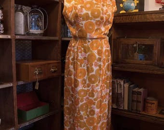 Vintage 1950s / 1960s Creamsicle Orange, Ivory & Pink, Abstract Floral Evening Gown // Maxi Dress