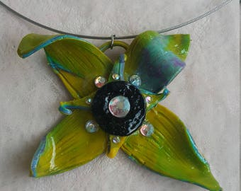 """Necklace with Swarovski elements .""""I sit before flowers hoping they'll train me in the art of opening up"""". Material-polymer clay. Size- 10x5"""