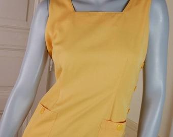 European Vintage Yellow Maxi Dress, Mellow Yellow Button Maxi, Sleeveless Maxi: Size 8 US, Size 12 UK