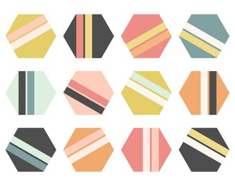 Geometric Clip Art // Grey, Pink, Mustard and Teal // Hexagon Digital ClipArt // Instant Download Hexagons