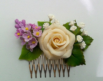 Floral hair comb.Ivory rose hair comb.Bridal hair comb.Lilac hair comb.Clay flowers.