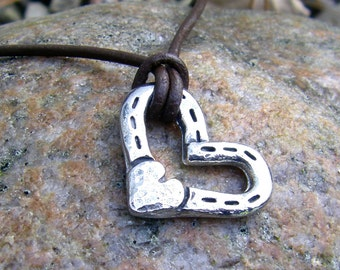 Heart and Horse Shoes Pendant, Rustic Horse Jewelry, Hand Hammered, Horse Lover Gift, Equestrian Gift, Horseshoe Necklace, Handcast Pendant