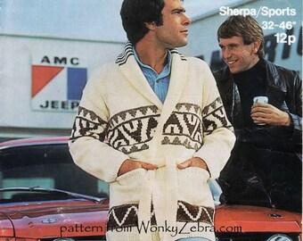 Mans Vintage Jacket Knitting Pattern PDF 724 Starsky Hutch Coat from WonkyZebra