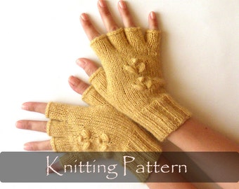KNITTING PATTERN - Knit Fingerless Mittens Half Fingerless Gloves Knit Pattern Knit Mittens Pattern Arm Warmers Hand Warmers PDF - P0009