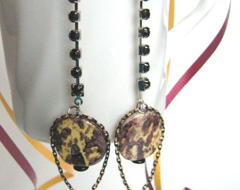 Black N Gold Chain earrings