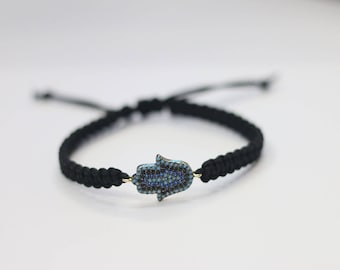 Black cord hamsa bracelet cord bracelet with gold Hamsa charm,yoga jewelry,jewish bracelet from Israel,protects from evil eye,hanukkah gift