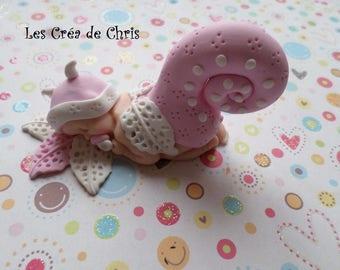 "baby girl ""theme snail"" polymer clay."
