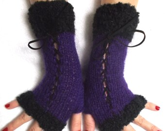 Knit Fingerless Corset Gloves Women Wrist  Warmers in Black and Violet