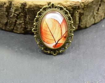 Brooch Leaf Glass Metall