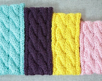Knitting Pattern: Cable Knit Ear Warmer, Colorful Headband, Women, Girls, Toddler, Baby Sizes