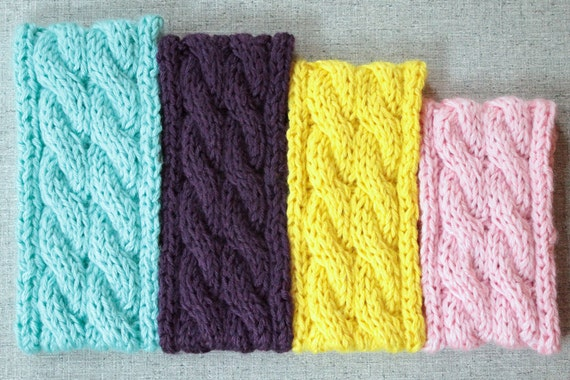 Knitting Pattern Cable Knit Ear Warmer Colorful Headband