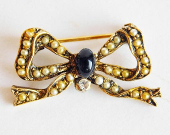 Vintage Edwardian Style Goldtone Bow Brooch with Domed Black Cabachon, Faux Pearls, Rhinestone - Delicate Antique (?) Pin - Revival Piece