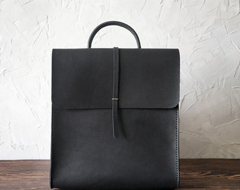 Leather backpack for women. Minimalist bag. Handmade genuine leather rucksack. Black color. M size.