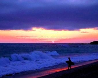 Sonnenuntergang Skimboarder - 11 x 14 Hampel-Fotoabzug - vom Künstler signiert