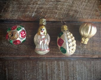 Four Small Vintage German Glass Ornaments, Mercury Glass Christmas Ornaments