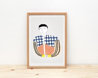 Discreet man - print - 8 x 11.5 - A4 - by Depeapa
