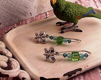 Handmade Butterfly & Crystal Earrings