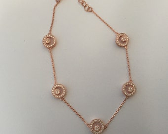 Rose Gold Circle Bracelet with Micro Pave