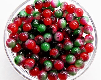 Red green glass beads; itty bitty, red and green, round glass beads, 6mm, 16pcs/2.60.