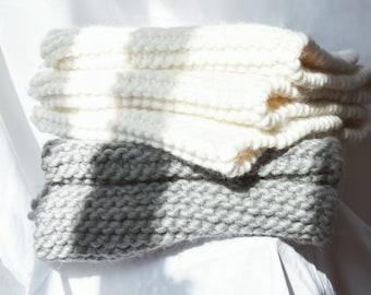 Grey Chunky Knit Scarf, Wool Scarf, 100% wool