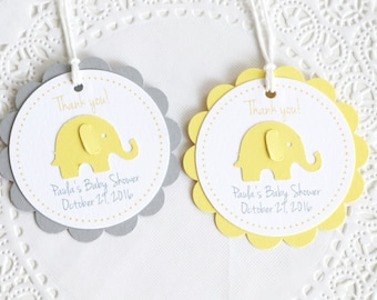 Yellow Elephant Tags, Thank You Tags,Baby Shower Tags, Personalized Tags, Birthday Favors