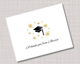 Custom Gold Stars & Cap Graduation Thank You Note Cards