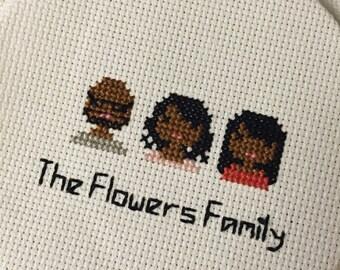 Three Person Made-to-Order Custom Cross Stitch