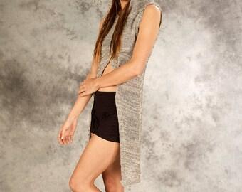 Asymmetric Top Dress for Women ~ t-shirt Knitted ~ natural Hippie Psy Goa Psytrance wear gypsy tribal earthy alternative clothing~YamunaArt