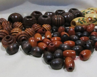 Lot of 85 Various sized craft or jewelry all wood beads.  See description for sizes and count.