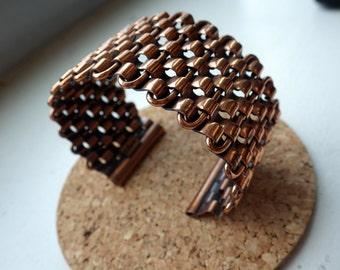 "Vintage RENOIR ""Basketweave"" Wide Copper Cuff - mid Century Book Piece Bracelet"