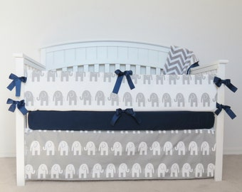 FREE SHIPPING - 4 Piece Crib Set - Elephant crib set gray and white